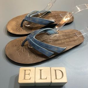 Keen Florence Tan-Blue Leather Thong Flip Flops
